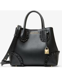 Michael Kors - Mercer Gallery Small Ruffled Leather Satchel - Lyst