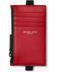 ded10c4492 Michael Kors - Porta Carte Di Credito In Pelle Con Cordino E Zip - Lyst