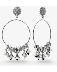 Michael Kors - Silver-tone Shell Hoop Earrings - Lyst