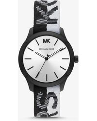 21595be9b2a2 Lyst - Michael Kors Saunder Silver-tone And Silicone Watch in Metallic