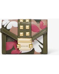 Michael Kors - Whitney Small Butterfly Camo Leather Chain Wallet - Lyst