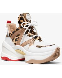 Michael Kors - Sneaker Olympia In Pelle Effetto Cavallino Leopardato E Pelle - Lyst