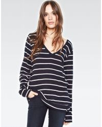 Michael Lauren - Gregory V-neck Pullover In Navy Stripe - Lyst