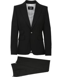 DSquared² Two Pieces Black Suit In Wool With Peaked Revers And Logoed Button