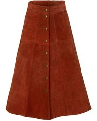 M.i.h Jeans - Rust Suede Midi Skirt - Lyst