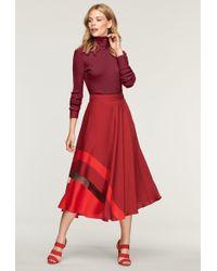 MILLY - Stretch Silk Insert Combo Skirt - Lyst