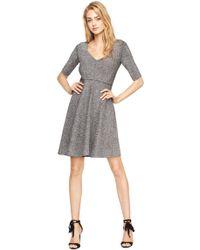 MILLY - Metallic Doubleknit Flare Dress - Lyst