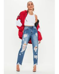 Missguided - Tall Blue Riot High Rise Ripped Denim Mom Jeans - Lyst