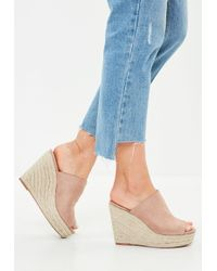 Missguided - Nude Faux Suede Espadrille Wedge Heeled Sandals - Lyst