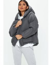 Missguided Grey Hooded Ultimate Puffer Jacket