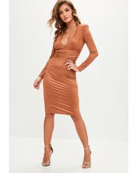 Missguided - Brown Faux Suede Plunge Midi Dress - Lyst