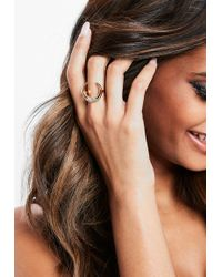 Missguided - Gold Look Diamante Horn Ring - Lyst