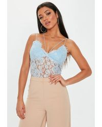 Missguided - Premium Blue Corded Lace Harness Bodysuit - Lyst