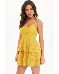 Missguided - Petite Yellow Lace Tiered Cami Dress - Lyst