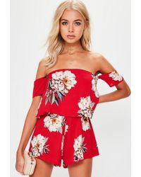 4096a61944c3 Missguided - Red Floral Crepe Overlay Bardot Playsuit - Lyst
