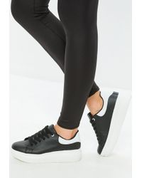 Missguided - Black Flatform Lace Up Sneakers - Lyst