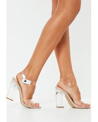 Missguided - Nude Clear Block Heel Sandals - Lyst