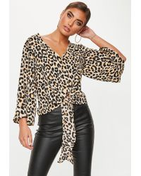 Missguided - Brown Leopard Tie Front Blouse - Lyst