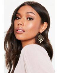 Missguided - Palm Leaf Drop Earrings - Lyst