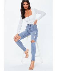 dc148af0741e Missguided Sinner High Waisted Zipped Cargo Skinny Jeans Charcoal in ...