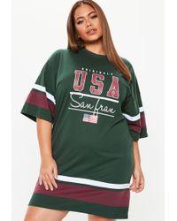 074b3f5b3ee Missguided - Plus Size Dark Green Usa Oversized T Shirt Dress - Lyst