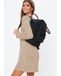Missguided - Black Utility Canvas Backpack - Lyst