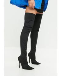 Missguided - Black Extreme Pointed Over The Knee Boots - Lyst