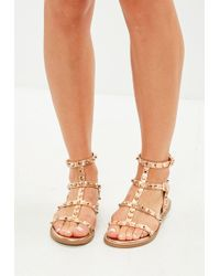 97125d0464af Missguided - Rose Gold Dome Stud Gladiator Sandals - Lyst