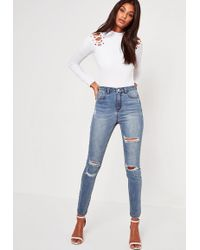 8be919d8e5e Missguided - Blue Sinner High Waisted Authentic Ripped Skinny Jeans - Lyst