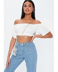ac01b8a234599b Lyst - Missguided Theresia White Bardot Crop Top With Mesh Detail in ...