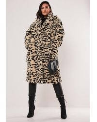Missguided Plus Size Brown Leopard Print Oversized Teddy Coat