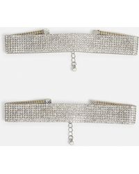 Missguided - Silver Diamante Anklets - Lyst