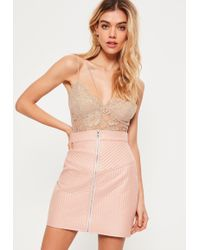 Missguided - Premium Nude Corded Lace Harness Bodysuit - Lyst
