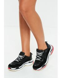 Missguided - Black Contrast Sole Colour Block Chunky Trainers - Lyst