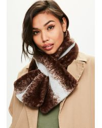 Missguided - Dark Brown Faux Fur Natural Striped Scarf - Lyst