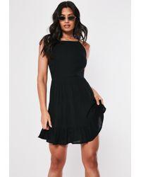 Missguided - Black Crinkle Square Neck Skater Dress - Lyst