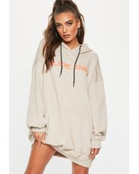 Missguided - Nude Slogan Detail Oversized Hooded Dress - Lyst