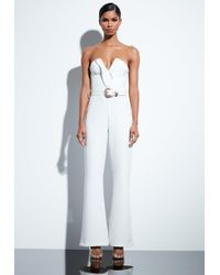 605c5f5da1d Missguided - Peace + Love White Plunge Gold Belted Jumpsuit - Lyst