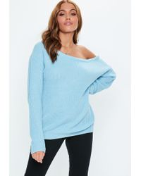 Missguided - Blue Off Shoulder Knitted Jumper - Lyst