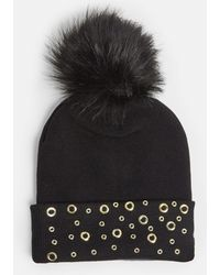 Missguided - Black Circle Stud Beanie With Pom Pom - Lyst