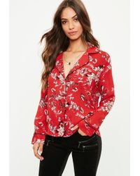 87c668b74a Missguided Black Floral Print Satin Pajamas Blouse in Black - Lyst