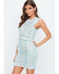 Missguided - Light Blue Lace Frill Bodycon Dress - Lyst
