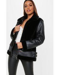 Missguided - Petite Black Faux Fur Ultimate Aviator Jacket - Lyst