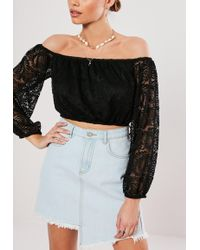 0b5aed367d70fa Lyst - Missguided Black Soft Lace Frill Crop Top in Black
