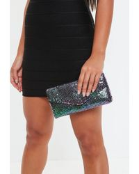 Missguided - Black Oil Slick Chainmail Envelope Bag - Lyst