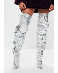Missguided - Londunn + Silver Slouch Thigh High Boots - Lyst