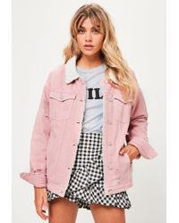 Missguided - Pink Borg Lined Denim Jacket - Lyst