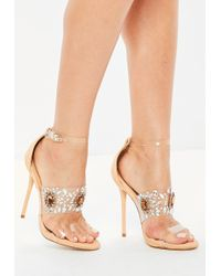 4c6d7be87e0 Lyst - Missguided Nude Lace Up Perspex Peep Toe Stilettos in Natural