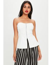 Missguided - White Corset Structured Sleeveless Top - Lyst