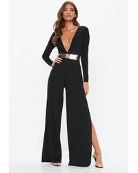 Missguided - Black Belted Plunge Jumpsuit - Lyst